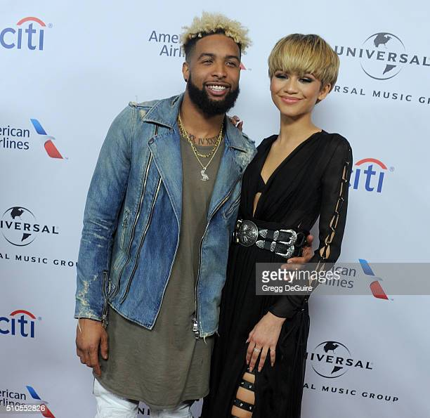 NFL player Odell Beckham Jr and actress/singer Zendaya arrive at Universal Music Group's 2016 GRAMMY After Party at The Theatre At The Ace Hotel on...