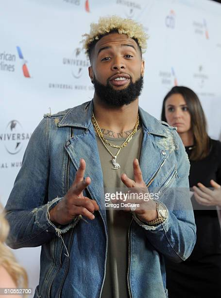 NFL player Odell Beckham Jr arrives at Universal Music Group's 2016 GRAMMY After Party at The Theatre At The Ace Hotel on February 15 2016 in Los...