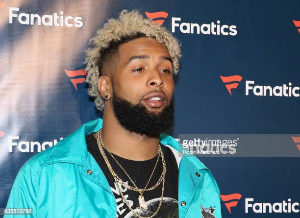 NFL player Odell Beckham Jr arrives for the Fanatics Super Bowl Party at Ballroom at Bayou Place on February 4 2017 in Houston Texas