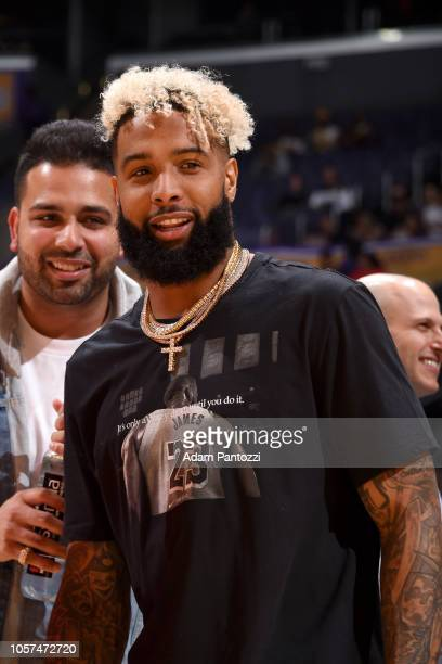 NFL player Odell Beckham Jr attends the game between the Toronto Raptors and the Los Angeles Lakers on November 4 2018 at STAPLES Center in Los...