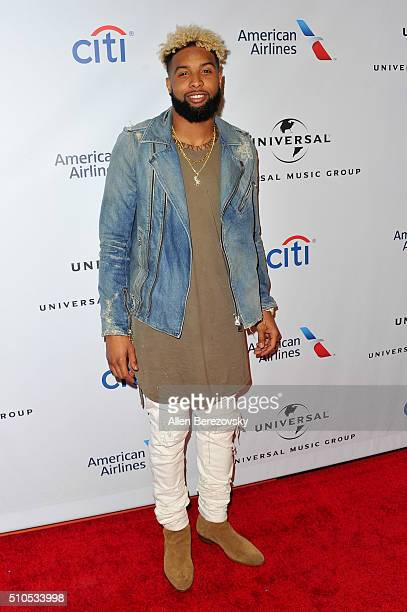 NFL player Odell Beckham Jr attends Universal Music Group's 2016 GRAMMY after party at The Theatre At The Ace Hotel on February 15 2016 in Los...