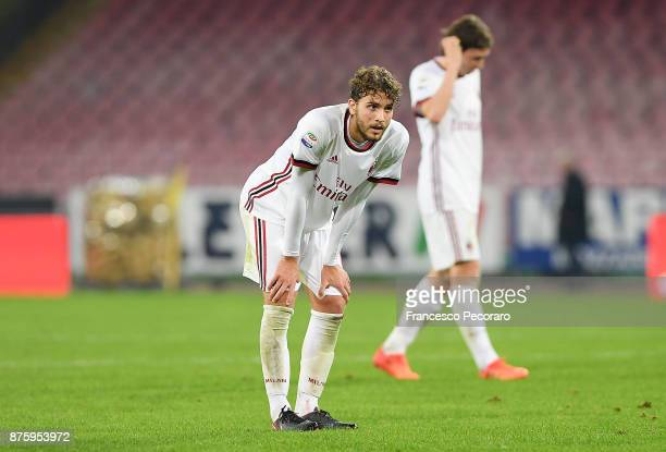Player of AC Milan Manuel Locatelli stands disappointed during the Serie A match between SSC Napoli and AC Milan at Stadio San Paolo on November 18...