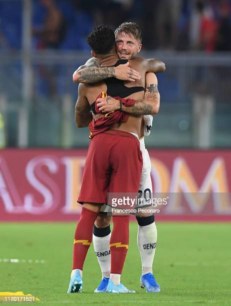 Player of AS Justin Kluivert and Player of Genoa CFC Lasse Schone before the Serie A match between AS Roma and Genoa CFC at Stadio Olimpico on August...