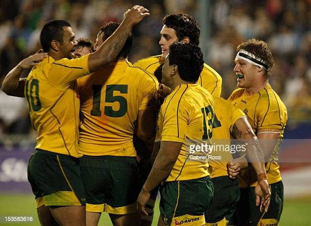 Player of Australia celebrates a try during a match between Argentina and Australia as part of the 6th rounf of The Rugby Championship 2012 at...