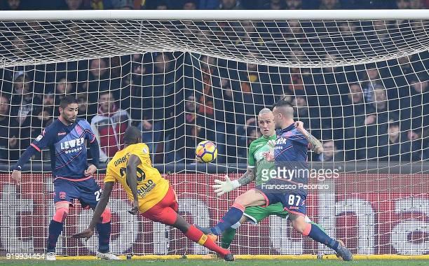 Player of Benevento Calcio Cheick Diabatè scores the 32 goal during the serie A match between Benevento Calcio and FC Crotone at Stadio Ciro Vigorito...