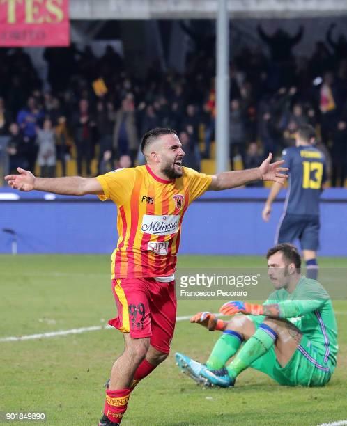 Player of Benevento Calcio Enrico Brignola celebrates after scoring the 31 goal beside the disappointment of Emiliano Viviano player of UC Sampdoria...