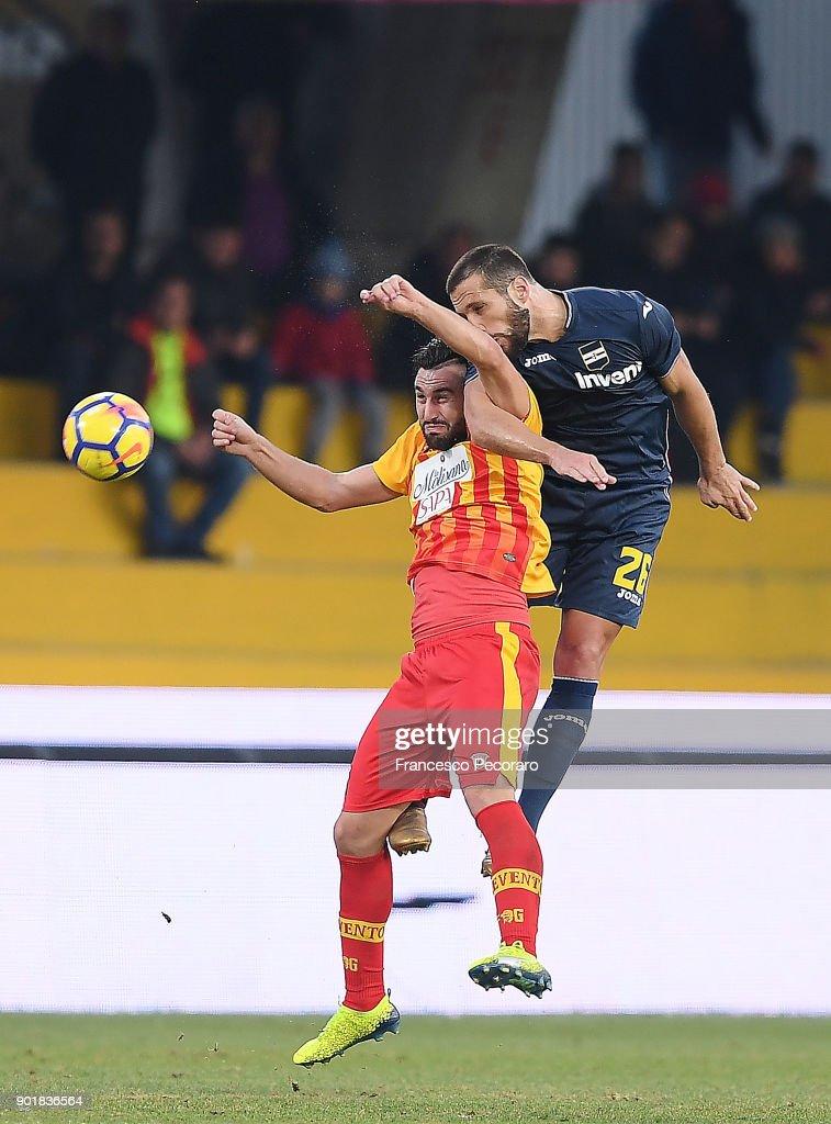 Player of Benevento Calcio Massimo Coda competes with UC Sampdoria player Matias Silvestre during the serie A match between Benevento Calcio and UC Sampdoria at Stadio Ciro Vigorito on January 6, 2018 in Benevento, Italy.