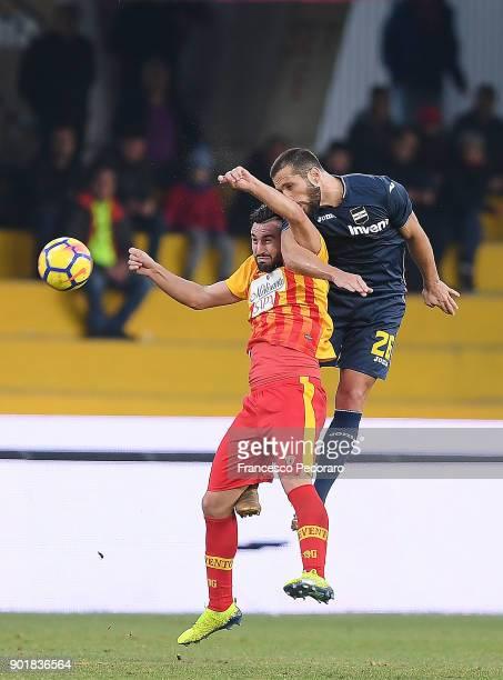 Player of Benevento Calcio Massimo Coda competes with UC Sampdoria player Matias Silvestre during the serie A match between Benevento Calcio and UC...