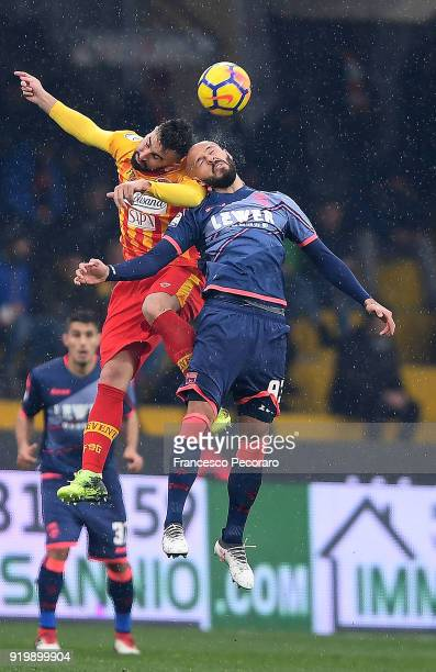 Player of Benevento Calcio Massimo Coda vies with FC Crotone player Arlind Ajeti during the serie A match between Benevento Calcio and FC Crotone at...