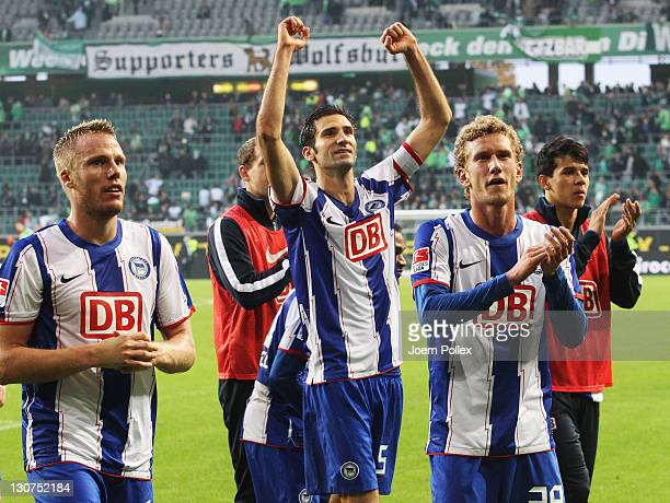 Player of Berlin celebrates after the Bundesliga match between VfL Wolfsburg and Hertha BSC Berlin at the Volkswagen Arena on October 29 2011 in...