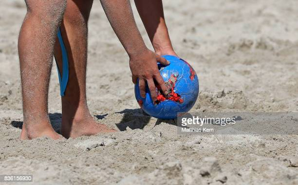 A player of Berlin prepares to shoot the ball during the 3rd place match between Hertha BSC and Wuppertaler SV on day 2 of the 2017 German Beach...