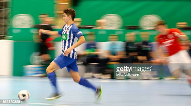 Player of Berlin runs with the ball during the DFB Indoor Football match between FC Astoria Walldorf and Hertha BSC on March 25 2018 in Gevelsberg...