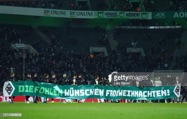 Player of Borussia Monchengladbach wish their fans a Merry Christmas during the Bundesliga match between Borussia Moenchengladbach and 1 FC Nuernberg...