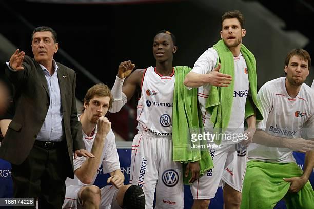 Player of Braunschweig gestures during the Beko Basketball Bundesliga match between New Yorker Phantoms Braunschweig and ALBA BERLIN at the...