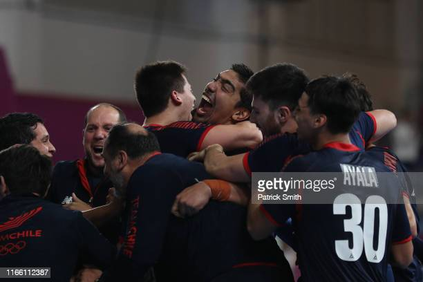 Player of Chile celebrate after defeating Brazil by 32-29 during Men´s Handball Semifinal between Brazil and Chile on Day 9 of Lima 2019 Pan American...