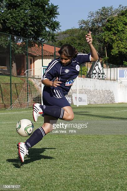 A player of Colegio del Sol in action during the FIFA Women's Football Initiative on October 27 2011 in Asuncion Paraguay