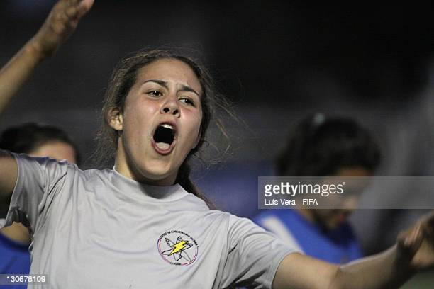 A player of Colegio Tecnico de Luque celebrates scoring a goal during the FIFA Women's Football Initiative on October 27 2011 in Asuncion Paraguay
