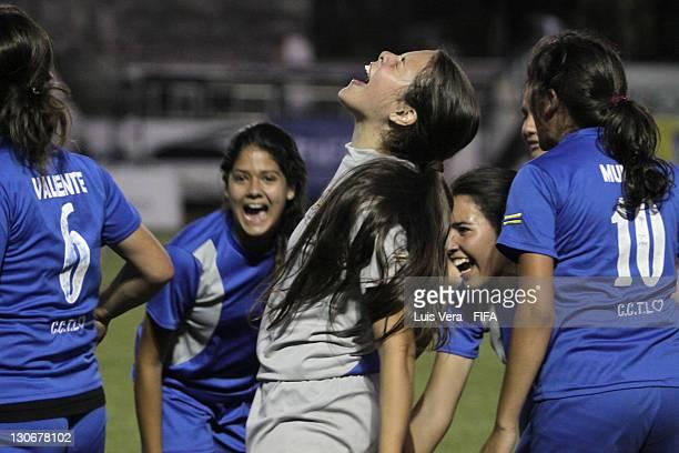 A player of Colegio Tecnico de Luque celebrates scoring a goal on October 27 2011 in Asuncion Paraguay