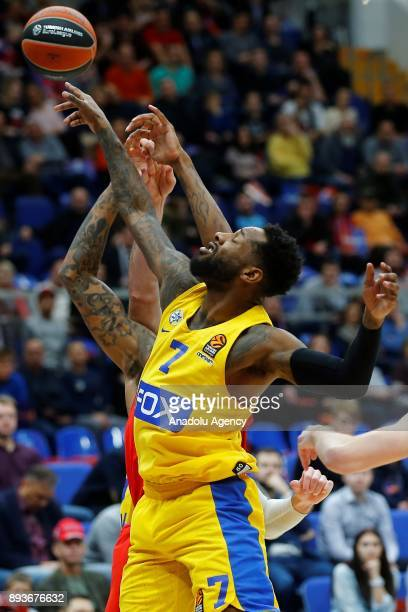 Player of CSKA Moscow vies with DeAndre Kane of Maccabi Fox during the Turkish Airlines Euroleague match between CSKA Moscow and Maccabi Fox at the...