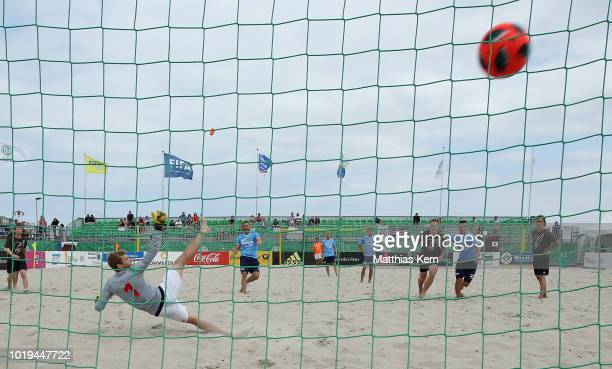 A player of Curva 69 scores a goal during the German Beachsoccer Tour final match between Curva 69 and Ultima Reserva Do Brasil on August 19 2018 in...