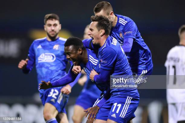 Player of Dinamo celebrate after scoring the goal during the UEFA Europa League Group K stage match between Dinamo Zagreb and Wolfsberger AC at...