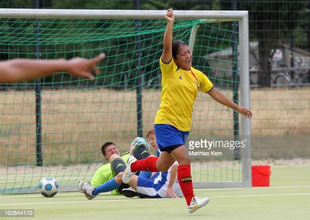 A player of Ecuador jubilates after scoring a goal during the International Women's Football Tournament 'Discover Football' 3rd place match between...