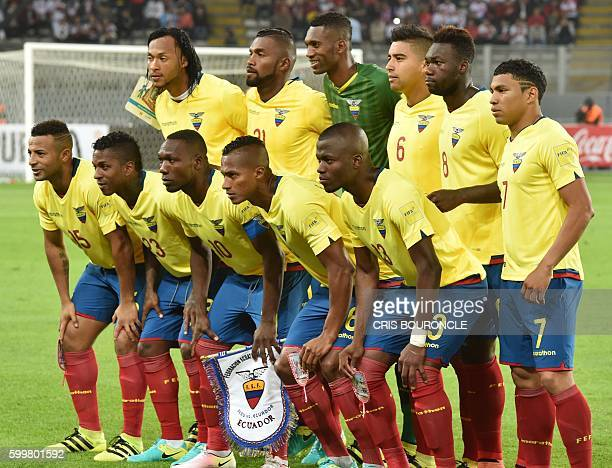 Player of Ecuador pose for pictures before the start of their Russia 2018 World Cup football qualifier match against Peru in Lima on September 6 2016...