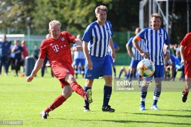 Player of FC Bayern Muenchen scores his first goal on Day 1 of the DFB Over40 And Over50 Cup between FC Bayern Muenchen and Hertha BSC Berlin at...