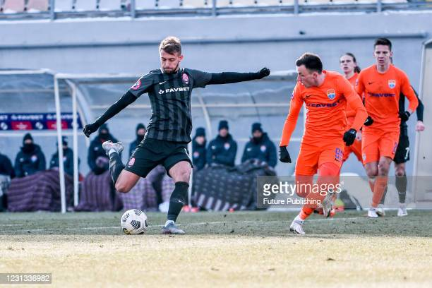 Player of FC Zorya Luhansk kicks the ball during the Ukrainian Premier League Matchday 15 game against FC Mariupol at the Slavutych Arena,...