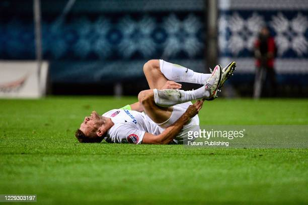 Player of FC Zorya Luhansk suffers from a leg injury during the Ukrainian Premier League Matchday 7 game against FC Rukh Lviv at the Slavutych Arena,...