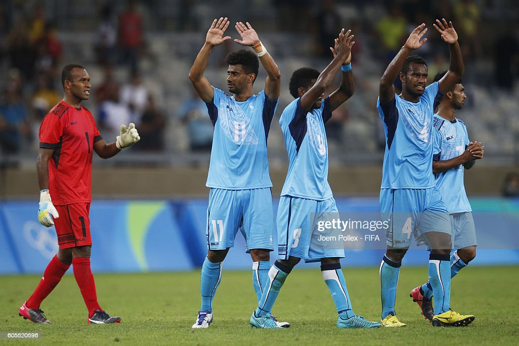 Player of Fiji wave to the supporter after the Men's Group C match between Germany and Fiji on Day 5 of the Rio2016 Olympic Games at Mineirao Stadium on August 10, 2016 in Belo Horizonte, Brazil.