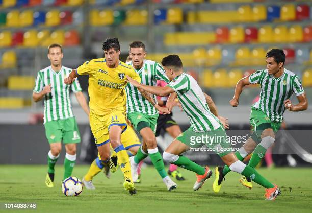 Player of Frosinone Calcio Stipe Perica vies with Real Betis player Bartra during the PreSeason Friendly match between Frosinone Calcio and Real...