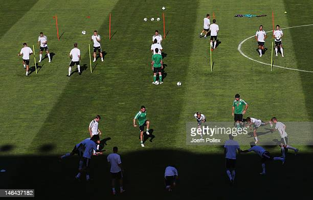 L'VIV UKRAINE JUNE 16 Player of Germany exercise during a UEFA EURO 2012 training session at the Arena Lviv on June 16 2012 in Lviv Ukraine