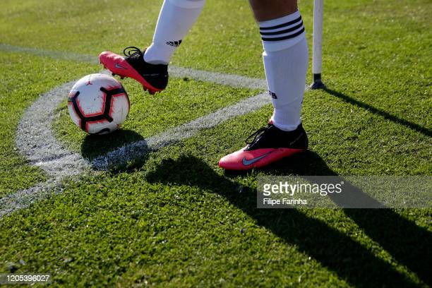 Player of Germany prepares to take a corner during the Algarve U17 International Tournament game between Germany U17 and Portugal U17 at Lagos...