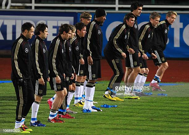 Player of Germany warming up during the Germany training session at Rambergsvallen Stadium on November 15 2010 in Gothenburg Sweden