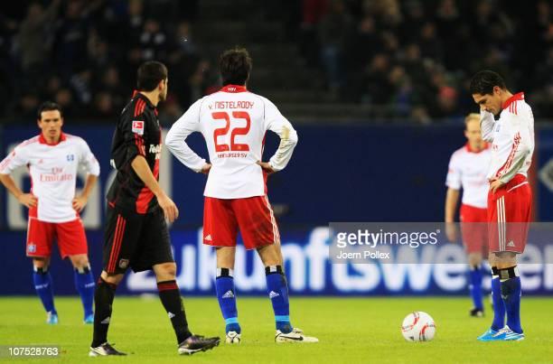 Player of Hamburg are seen after Leverkusens third goal during the Bundesliga match between Hamburger SV and Bayer Leverkusen at Imtech Arena on...