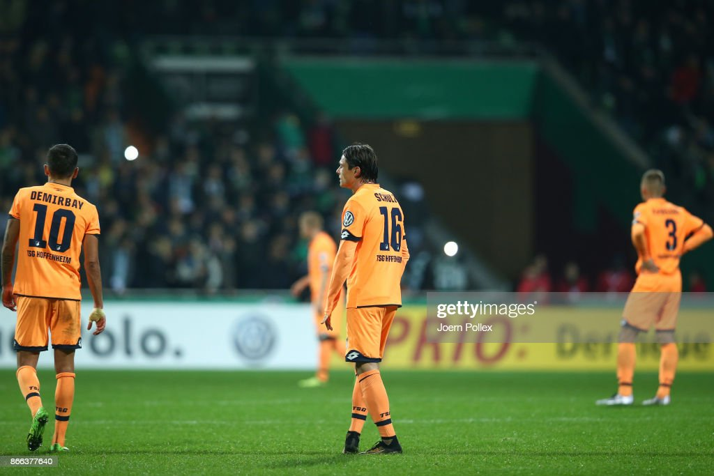 Player of Hoffenheim are seen after loosing the DFB Cup match between Werder Bremen and 1899 Hoffenheim at Weserstadion on October 25, 2017 in Bremen, Germany.