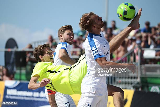 Player of Ibbenbuerener and Player of Rostock compete for the ball during the semi final match between Ibbenbuerener BSC and Rostocker Robben on day...