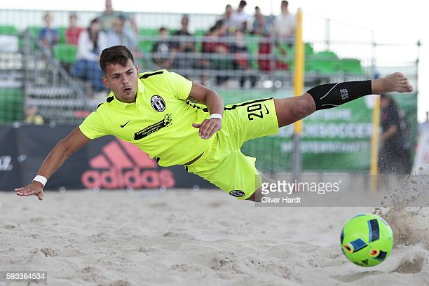 Player of Ibbenbuerener in action during the final match match between Ibbenbuerener BSC and Beach Royals Duesseldorf on day 2 of the 2016 German...