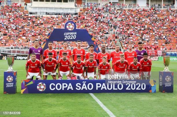 Player of Internacional pose for photo prior to the match against Gremio for the Copa Sao Paulo de Futebol Junior Final at Pacaembu Stadium on...