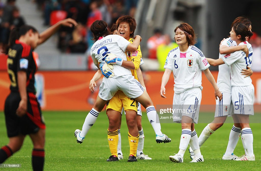 Player of Japan celebrate after the FIFA Women's World Cup 2011 Group B match between Japan and Mexico at BayArena on July 1, 2011 in Leverkusen, Germany.