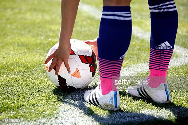 Player of Japan prepares to take the corner kick during the Women's Algarve Cup match between Japan and Iceland at Estadio Algarve on March 11 2015...