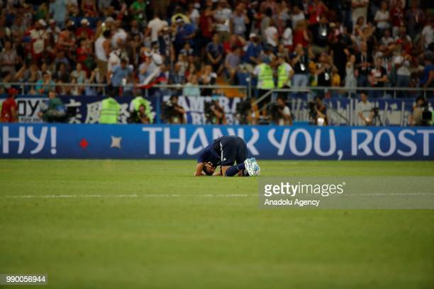 A player of Japan reacts after loosing the 2018 FIFA World Cup Russia Round of 16 match between Belgium and Japan at the Rostov Arena Stadium in...