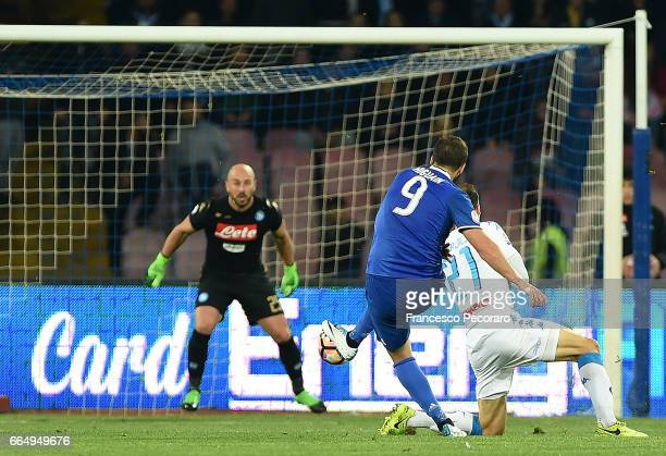 Player of Juventus FC Gonzalo Higuain scores the 01 goal during the TIM Cup match between SSC Napoli and Juventus FC at Stadio San Paolo on April 5...