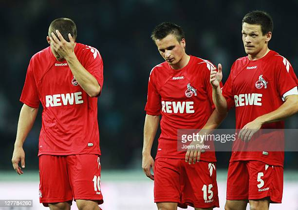 Player of Koeln are seen after loosing the Bundesliga match between Hertha BSC Berlin and 1. FC Koeln at Olympic Stadium on October 1, 2011 in...