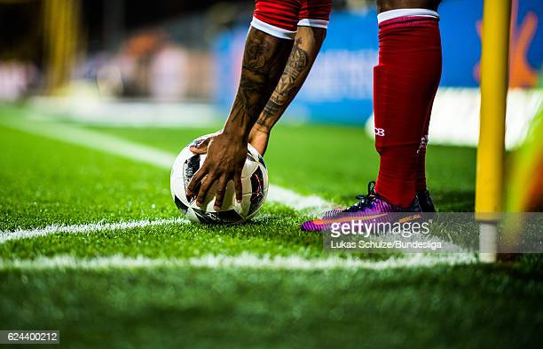 A player of Muenchen touches the ball on a corner during the Bundesliga match between Borussia Dortmund and Bayern Muenchen at Signal Iduna Park on...