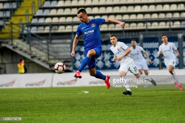ZAPORIZHZHIA UKRAINE A player of PFC Lviv kicks the ball during the Ukrainian Premier League Matchday 21 game against FC Zorya Luhansk in...