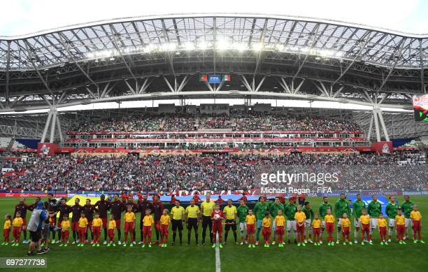 Player of Portugal and Mexico line up for the national anthems prior to the FIFA Confederations Cup Russia 2017 Group A match between Portugal and...
