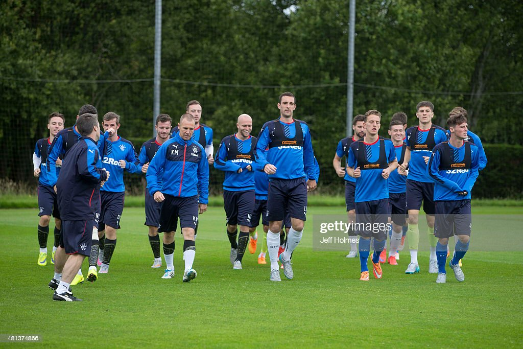 Player of Rangers FC practice during a training session in Murray Park on July 20, 2015 in Glasgow, Scotland.