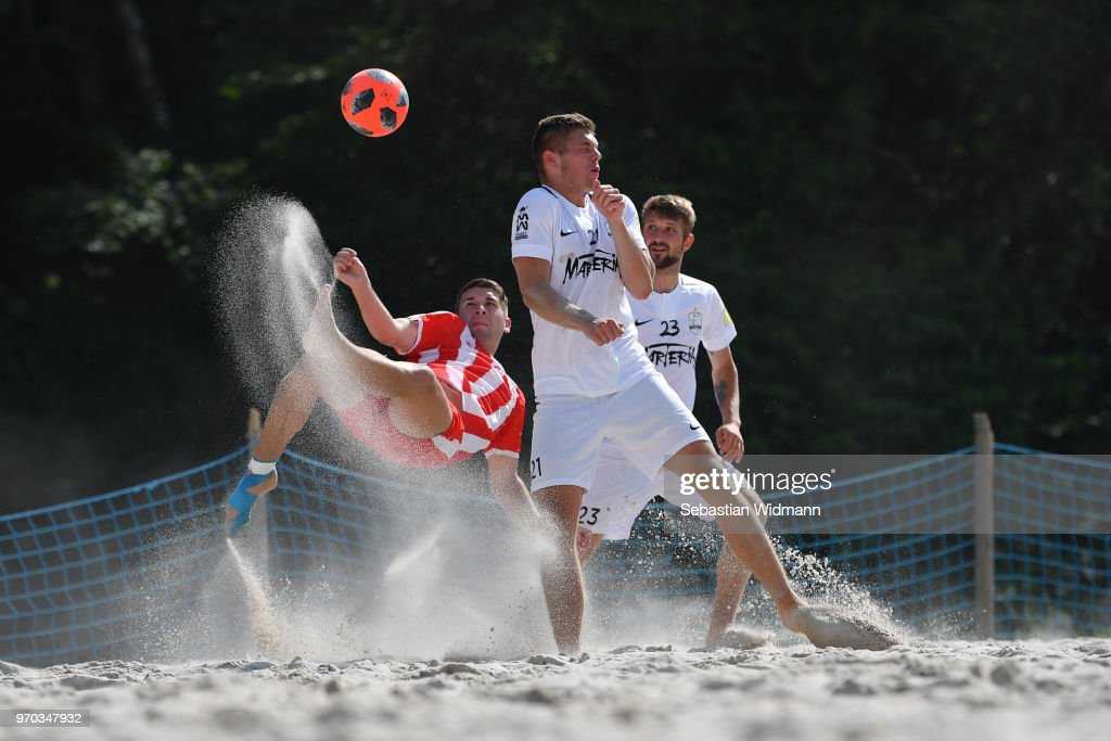 A player of Rostocker Robben does a bicycle kick during Day 2 of the German Beachsoccer League during Day 2 of the German Beachsoccer League at Munich Beach Resort on June 9, 2018 in Oberschleissheim, Germany.